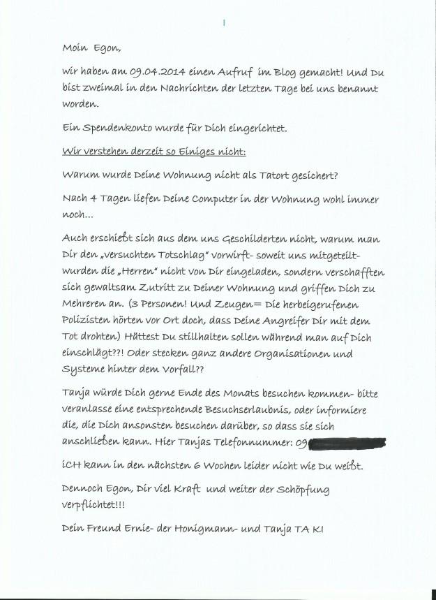 Brief an Egon 10.04.2014