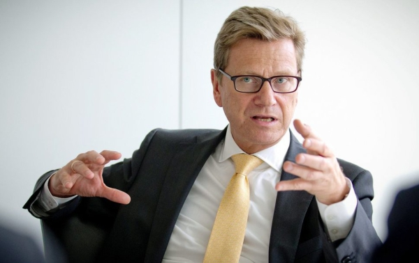 epa04022890 (FILE) A file photo dated 31 July 2013 show German Foreign Minister Guido Westerwelle during talks in Berlin, Germany. Chancellor Angela Merkel should do more to advance the legal rights of gay couples in Germany, Westerwelle said in remarks published on 15 January 2014. Former foreign minister Guido Westerwelle, who came out as gay a decade ago, told the magazine Stern that Merkel was hindering progress on granting gay couples the same legal rights as their heterosexual counterparts. EPA/MICHAEL KAPPELER